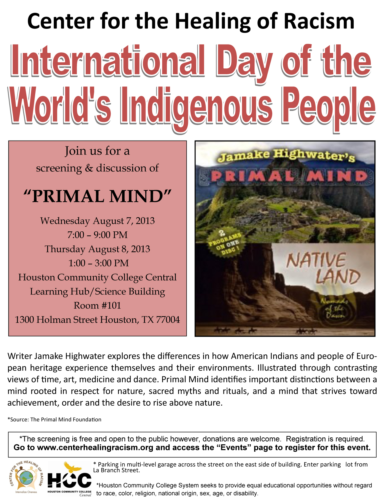 International Day of the Worlds Indigenous People Flier 2013