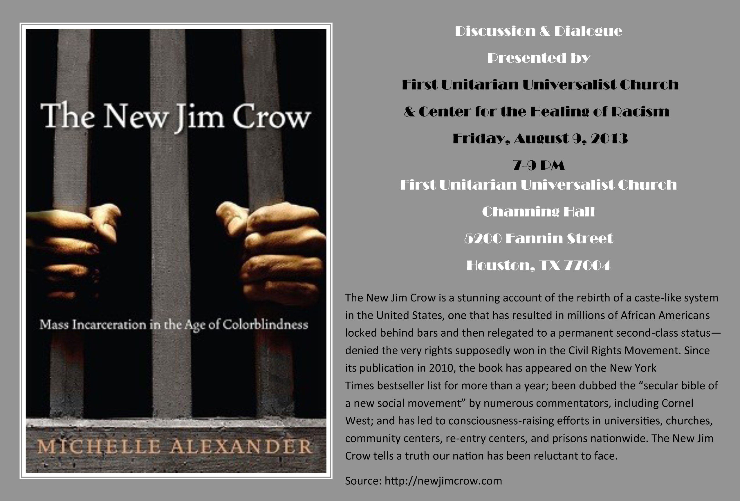 Jim Crow-Mass Incarceration Flier