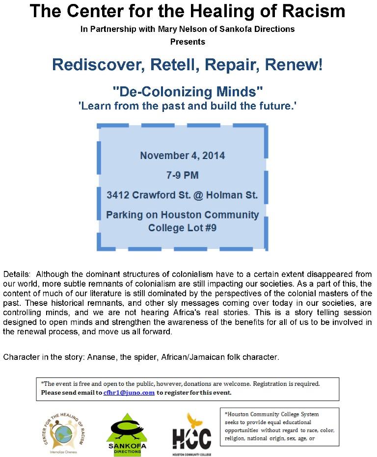 Rediscover, Retell, Repair, Renew!